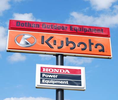 Dothan Outdoor Equipment - big red sign - authorized kubota, honda, echo, land pride dealer